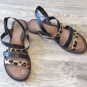 Seychelles calf skin leopard print flat sandal